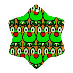 Sitfrog Orange Face Green Frog Copy Ornament (Snowflake)