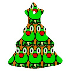 Sitfrog Orange Face Green Frog Copy Christmas Tree Ornament (2 Sides)