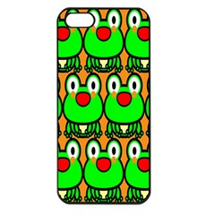 Sitfrog Orange Face Green Frog Copy Apple iPhone 5 Seamless Case (Black)