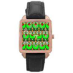 Sitfrog Orange Face Green Frog Copy Rose Gold Leather Watch
