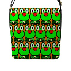 Sitfrog Orange Face Green Frog Copy Flap Messenger Bag (L)