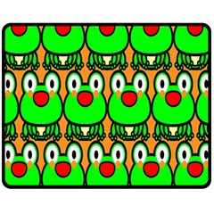 Sitfrog Orange Face Green Frog Copy Double Sided Fleece Blanket (Medium)