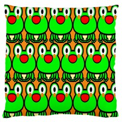 Sitfrog Orange Face Green Frog Copy Large Flano Cushion Case (One Side)