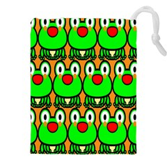 Sitfrog Orange Face Green Frog Copy Drawstring Pouches (XXL)