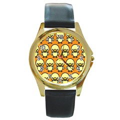 Small Duck Yellow Round Gold Metal Watch