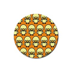 Small Duck Yellow Rubber Round Coaster (4 pack)