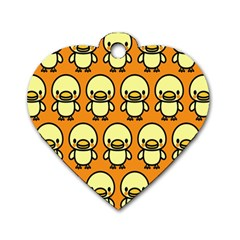 Small Duck Yellow Dog Tag Heart (Two Sides)