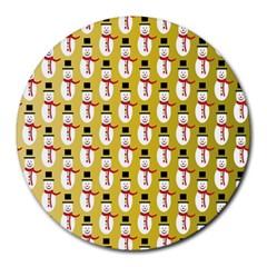 Snowman Green Round Mousepads