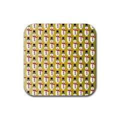 Snowman Green Rubber Coaster (Square)