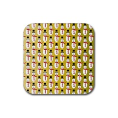 Snowman Green Rubber Square Coaster (4 pack)
