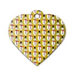 Snowman Green Dog Tag Heart (One Side)