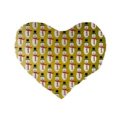 Snowman Green Standard 16  Premium Flano Heart Shape Cushions