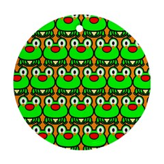 Sitfrog Orange Green Frog Ornament (Round)
