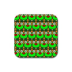 Sitfrog Orange Green Frog Rubber Square Coaster (4 pack)