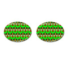Sitfrog Orange Green Frog Cufflinks (Oval)