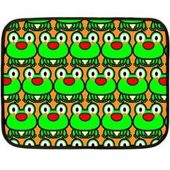 Sitfrog Orange Green Frog Double Sided Fleece Blanket (Mini)