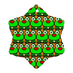 Sitfrog Orange Green Frog Snowflake Ornament (2-Side)