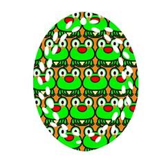 Sitfrog Orange Green Frog Ornament (Oval Filigree)