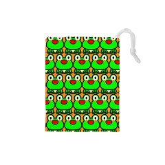 Sitfrog Orange Green Frog Drawstring Pouches (Small)