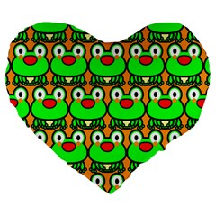 Sitfrog Orange Green Frog Large 19  Premium Flano Heart Shape Cushions