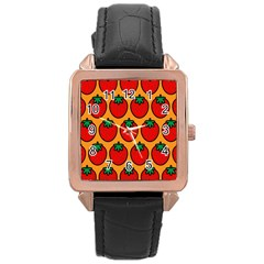 Strawberry Orange Rose Gold Leather Watch
