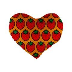 Strawberry Orange Standard 16  Premium Flano Heart Shape Cushions