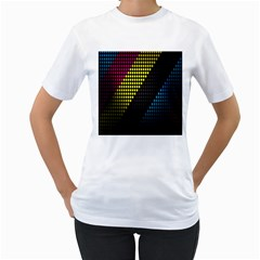 Techno Music Women s T-Shirt (White) (Two Sided)