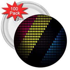 Techno Music 3  Buttons (100 pack)