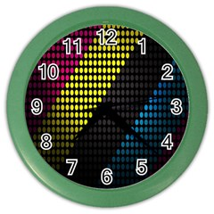 Techno Music Color Wall Clocks