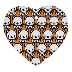 Sitwhite Cat Orange Ornament (Heart)