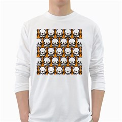 Sitwhite Cat Orange White Long Sleeve T-Shirts