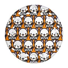 Sitwhite Cat Orange Round Filigree Ornament (2Side)