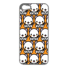 Sitwhite Cat Orange Apple iPhone 5 Case (Silver)