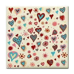 Valentine Heart Pink Love Tile Coasters