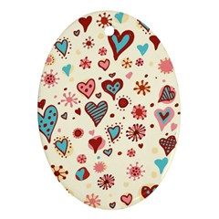Valentine Heart Pink Love Ornament (Oval)