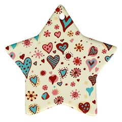 Valentine Heart Pink Love Ornament (Star)