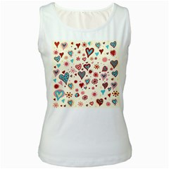 Valentine Heart Pink Love Women s White Tank Top