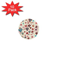 Valentine Heart Pink Love 1  Mini Buttons (10 pack)