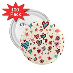 Valentine Heart Pink Love 2.25  Buttons (100 pack)