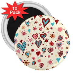 Valentine Heart Pink Love 3  Magnets (10 pack)