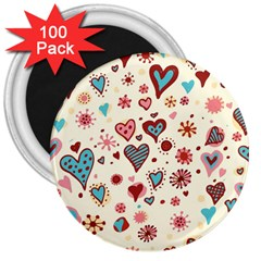 Valentine Heart Pink Love 3  Magnets (100 pack)