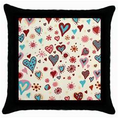 Valentine Heart Pink Love Throw Pillow Case (Black)