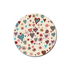 Valentine Heart Pink Love Rubber Coaster (Round)