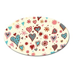 Valentine Heart Pink Love Oval Magnet