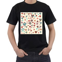 Valentine Heart Pink Love Men s T-Shirt (Black) (Two Sided)