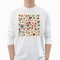 Valentine Heart Pink Love White Long Sleeve T-Shirts