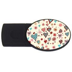 Valentine Heart Pink Love USB Flash Drive Oval (4 GB)