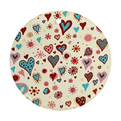 Valentine Heart Pink Love Round Ornament (Two Sides)