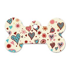 Valentine Heart Pink Love Dog Tag Bone (Two Sides)
