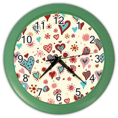 Valentine Heart Pink Love Color Wall Clocks